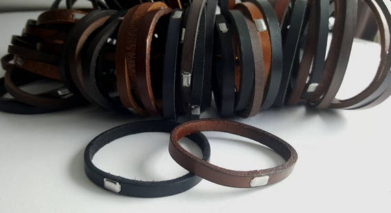 Leather Bangles Stocking Stuffer Stackable Bracelet w/ Stainless Steel Clasp Cuffs for Men or Ladies ~ Hand Dyed Leather Straps & Gift Bag