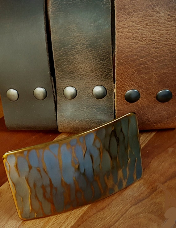 "Wide Belt and Buckle SET- Gift for Guys- Copper Gold Patina Hand Forged Stainless Steel Belt Buckle & 1.75"" Belt with Snaps-Boyfriend Gift"