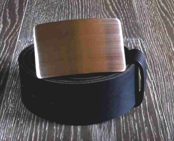 Two Inch Belt & Buckle Set ~ Leather Belt for Jeans Brushed Stainless Steel Belt Buckle ~ Kilt Belt and Buckle ~ Biker's Belt and Buckle