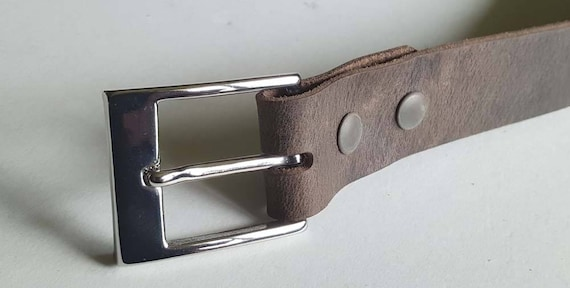 "Fawn Brown Leather Belt w/ Snaps & Buckle  ~  1-1/4"" wide Belt for Suit ~  Will Custom Cut Belt for Your Waist Size - Choose from 5 Colours"