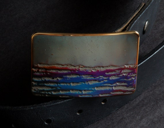 Canadian Landscape Belt Buckle for Blue Jeans Artisan Hand Forged Stainless Steel Buckle Bronze Blue Gold  Signed by Artist, Robert Aucoin