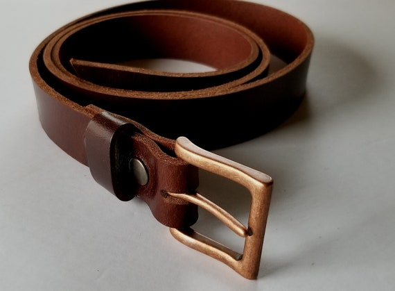 Mahogany Leather Belt & Simple Buckle, Mahogany Belt and Copper Buckle, Work Gear, Belt for Jean, Belt for Suit, Gift for Guy, Dad Gift