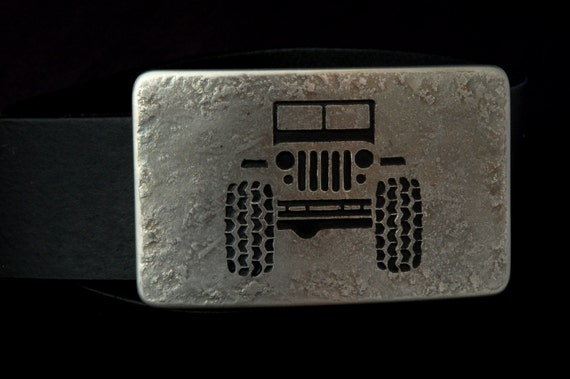 "Silver JEEP 4X4 Belt Buckle Off Road Stainless Steel Accessories Made in CANADA Hand Forged Signed Belt Buckle Fits 1-1/2"" Belt For Jeans"