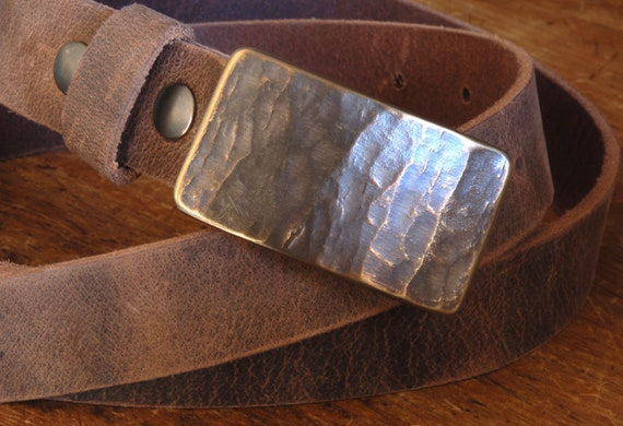 """Buckle & Belt SET, Canadian Wood Grain, Bronze, Blue, Silver Suit Buckle and Belt, Hand Forged Stainless Steel For 1.25"""" Belt For Suits"""