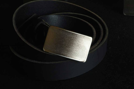 "Men's Classic Belt & Buckle ~ Stainless Steel Anniversary ~ Dad Belt Buckle Hypoallergenic Accessory ~ Guy Gift ~ 1-1/2"" Wide Leather Belt"