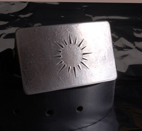 "SUNSHINE Stainless Steel Hand Forged HYPOALLERGENIC Belt Buckle fits 1.25"" belt for suits, casual Signed by Artist Robert Aucoin"
