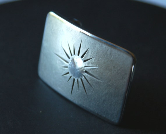 "Silver Arizona Florida Sunburst Stainless Steel Belt Buckle fits 1/2"" Belt Hypoallergenic Hand Forged for Blue Jeans Signed by Robert Aucoin"