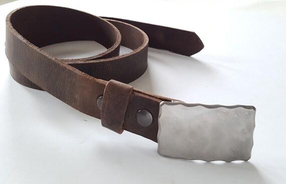 Men's Silver Antique Edge Buckle and Belt Set ~Gentlemen's Clothier ~ Gentlemen's Accessories ~ Belts and Buckles for Suits ~ Boyfriend Gift