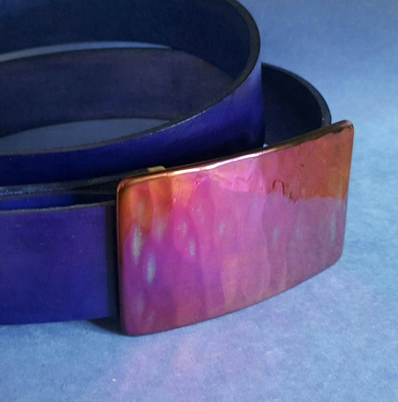 "Belt and Buckle SET Pink and Purple Hand Forged Hypoallergenic Belt Buckle & Hand Dyed Purple Leather Belt 1.5"" Wide with Snaps Custom Cut"