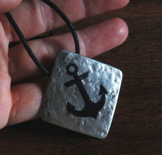Silver Nautical Anchor Sailor's Pendant Ancient Anvil Texture Necklace Rugged Hand Forged Sailing Regatta Key Chain, Dog Tag Leather Strap