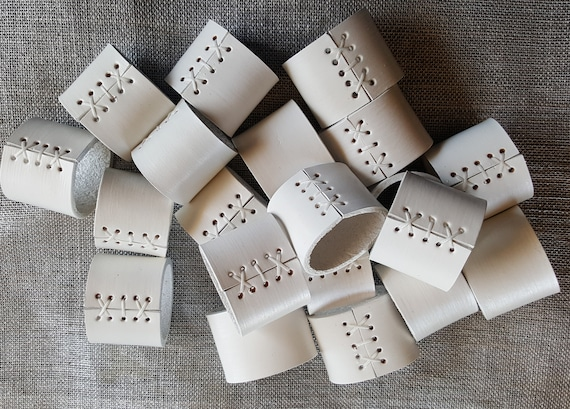 White Leather Napkin Rings  ~ Wedding Table Decor ~ Serving & Dining ~ Outdoor Wedding ~ Hostess Gift ~  Shower Gift ~ Leather Anniversary