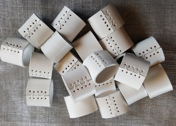 Wedding Table Decor ~ White Leather Napkin Rings ~ Serving & Dining ~ Outdoor Wedding ~ Hostess Gift ~  Shower Gift ~ Leather Anniversary