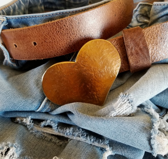 "Heart Shaped Buckle, Sweet 16, HEART Belt Buckle, Love Gift, Valentine Gift, Anniversary Gift, Buckle Fits 1-1/2"" Leather Belt for Jeans"