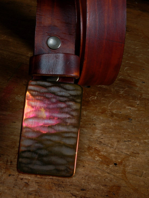 "SET Hand Forged Multi Coloured Hypoallergenic Belt Buckle & Hand Dyed Woodgrain Leather Belt 1.5"" Wide with Snaps Custom Cut for your Waist"