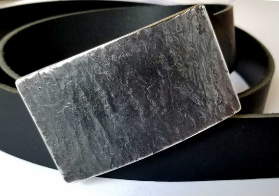 "Slate Belt Buckle Set for Blue Jeans ~ Valentine's Day ~ Gifts for Guys ~ Hand Forged Stainless Steel Buckle For 1-1/2"" Leather Belt w/Snaps"