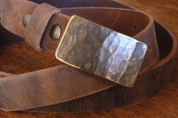 "1-3/4"" Belt & Buckle Set, Silver Woodgrain Buckle and Belt, Signed Original, Hypo Allergenic Buckle, Leather Belt with Snaps for Blue Jeans"