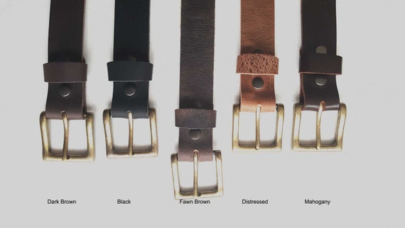 """Leather Belt & Simple Buckle, 1-1/2"""" Wide Leather Belt with Snaps and Simple Buckle, Belt for Jeans, Father's Day Gift, Unisex Gift wrapped"""