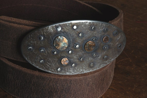 """Solar System ~ Planets ~Stars ~ Hand Forged Stainless Steel Belt Buckle ~ Signed Original ~ Hypoallergenic Buckle 1.5"""" Blue Jean Belt Buckle"""