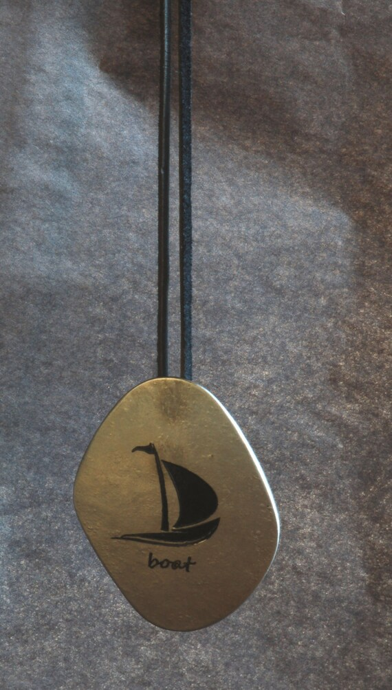 Silver & Black BOAT Pendant Necklace Hypoallergenic Captain Obvious Nautical Freeform Hand Forged Signed Forged Stainless Steel Accessories