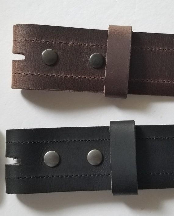 "2"" Leather Belt with Decorative Stitching, Jeans, Scottish Kilt Belt, Interchangeable Belt w/ Snap, Custom Leather Belt, Cut to Waist Size"
