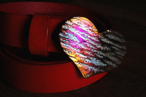 """Mother's Day, Belt Buckle, Lover's Heart, Bronze Anniversary, Hand Forged, Hypoallergenic Accessories, Stainless Steel Buckle For 1.5"""" Belt"""