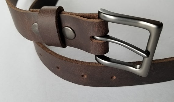 Quality Leather Belt & Simple Buckle, Leather Belt with Snaps, Gun Metal Buckle, Work Gear, Belt for Jean, Suit Belt, Gift for Guys or Gals