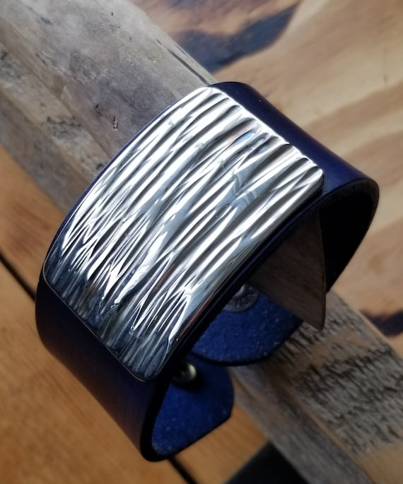 Unisex Leather Cuff Bracelet with Silver Metal Overlay, Blue Wave, Wrist Cuff w/ Snap, Boyfriend Gift, Gal Gift, Burlap Gift Bag Included