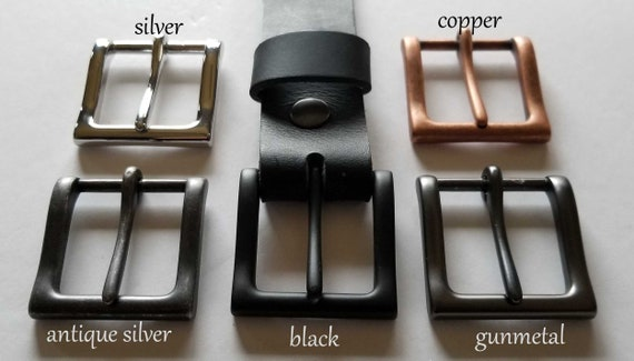 "Black Leather, Belt & Buckle, Custom Cut Belt, Grooms Gift and Groomsmen's Gift, 1-1/2"" Belt with snaps for Jean or 1-1/4"" Belt for Suits"