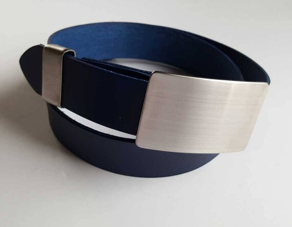 "Gentlemen's Silver Belt Buckle, Keeper & Navy Blue Belt Signed Original Accessories fit 1-1/2"" Leather Belt with Snaps for Jeans and Casual"