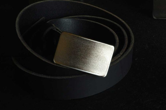 "Kids Belt Buckle Hypoallergenic Raw Hand Forged Stainless Steel Classic Belt Buckles Unisex Signed Original Fits 1.25"" Belt for Suits/Casual"