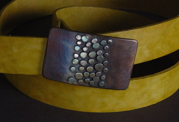 "Artisan Belt Buckle & Chartreuse Hand Dyed Belt with Snaps Hand Forged Buckle w/ Bronze Green Polka Dot Design Fits 1.5"" Belt for Blue Jeans"