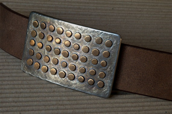 "Polka Dot Belt Buckle ~ Oversized Belt Buckle Fits 2"" Belt ~ Unisex Accessories ~ Bronze & Stainless Steel ~ Signed Original, Robert Aucoin"
