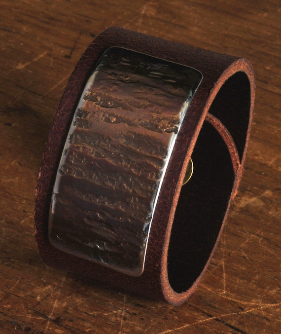 Unisex Leather & Metal Cuff Bracelet Wristband Arizona Earth Tones Brown Leather Gold Taupe Anvil Textured Stainless Steel Hypoallergenic