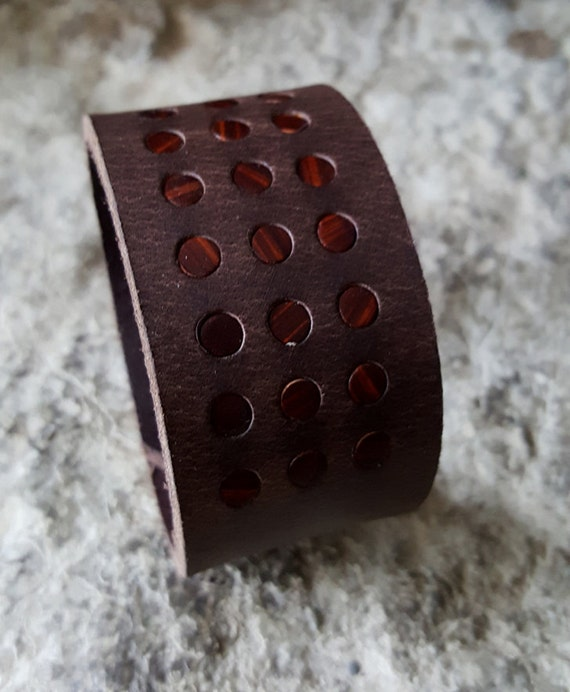 "Men's Brown Leather Bracelet Cuff Unisex Wrist Cuff with Brown Polka Dots Snap Close fits Size 6.75"" Velvet or Burlap Gift Bag Included"