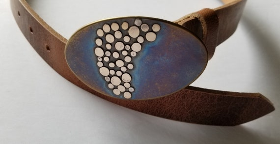 """Unisex Belt Buckle, Canadian Artisan, Original Belt Buckle,  Hand Forged Buckle, Unisex Belt Buckle, Bronze /Silver for 1-1/4"""" Leather Belt"""