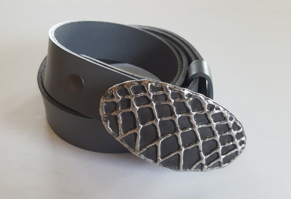 "One of a Kind Belt & Buckle SET ~ Basketball Net Hand Forged Fish Net Buckle w/ Hand Dyed 1.5"" Grey Leather Belt ~ 6 Belt Colours Available"
