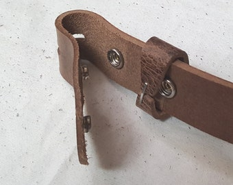 """Leather Belt with SNAPS for Jeans or Suits, Custom Cut Oiled Buffalo Leather Belts with snaps 1.5"""" and 1.25"""" Wide Belt, Made to Measure Belt"""