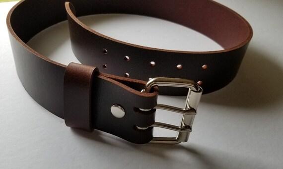 """Two (2)INCH Leather Belt & Buckle, Two Rows of Holes, Biker Belt, Celtic Attire, Kilt Belt, INTERCHANGEABLE Belt w/ Snaps, 2"""" Leather Belts"""