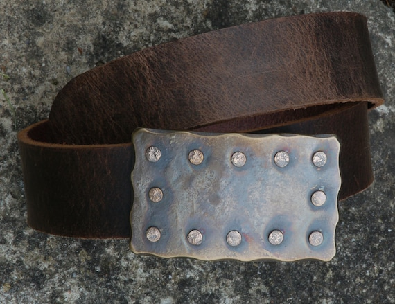 Hand Forged Stud Buckle & Leather Belt with Snaps for Blue Jeans ~Workwear Accessories ~ Stainless Steel Belt Buckle ~ Accessories for Jeans