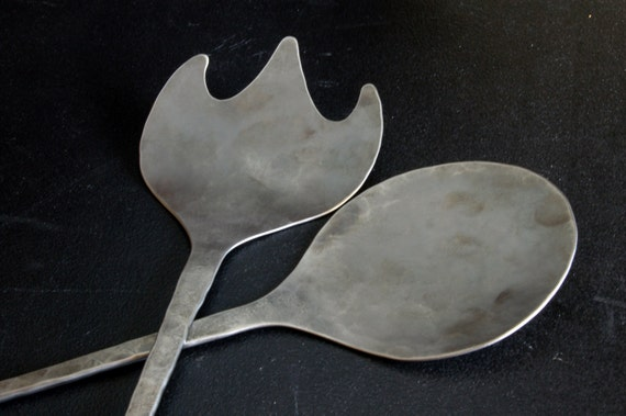 Salad Serving Set  Hand Forged Stainless Steel  Wedding, Mother's Day, Housewarming, Anniversary,  Birthday, Keepsake, Large Bowls & Picnics