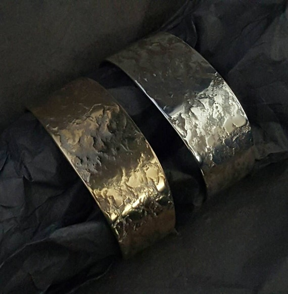 Unisex Bracelet Wrist Cuff ~ Hand Forged Texture ~ Stainless Steel Gold or Silver ~ Signed Original by Robert Aucoin, Iron Art ~ Easy Wear