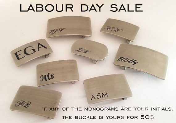 Labour Day SALE!  If any of these Stainless Steel Monogrammed BUCKLES are your initials, Buckle is 50 Dollars for You - Personalized Buckle