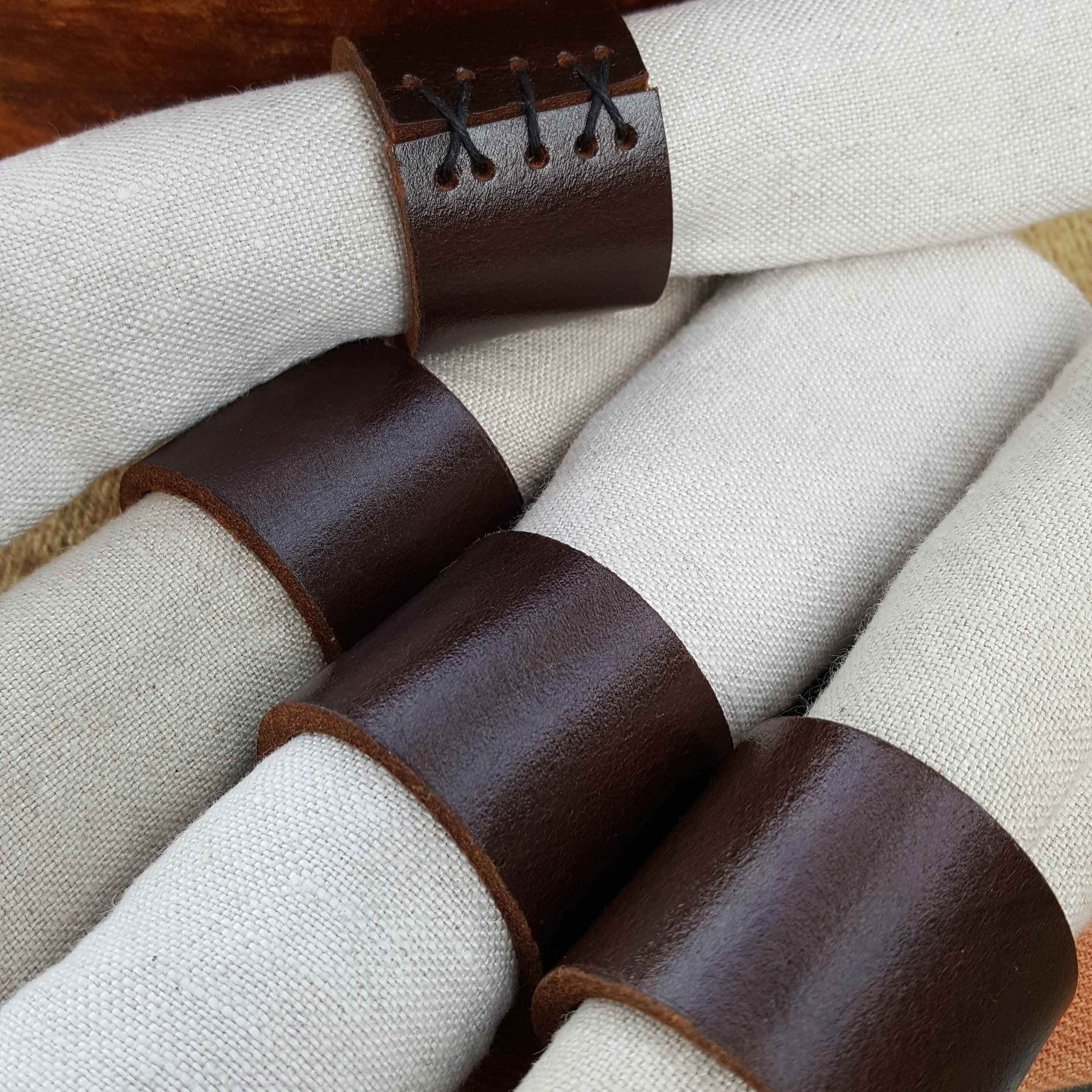 White Leather Napkin Rings Wedding Table Decor Serving Dining Outdoor Wedding Hostess Gift Shower Gift Leather Anniversary