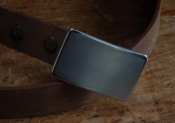 "Classic Silver Suit Belt Buckle Hypoallergenic Stainless Steel Groomsmen's Accessories Unisex Belt Buckle Signed Original Fits 1-1/4"" Belt"