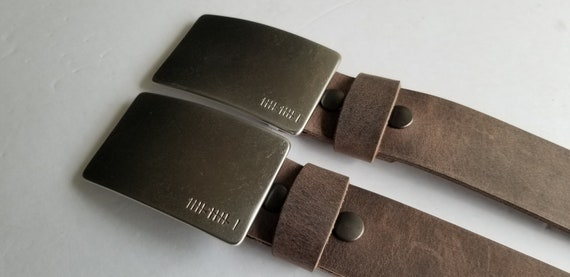 Customized Gift, Anniversary Gift, His & Hers, Belt and Buckle Set For Jean, Personalized Gift, Tally, Roman Numeral Buckle w/ Leather Belt