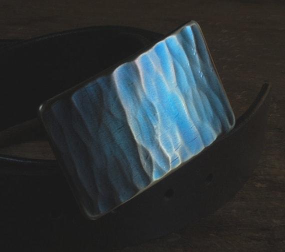 "Blue Jean Belt Buckle ~ Gifts for Guys ~ Boyfriend Gift ~Signed Original Fits 1.5"" Leather Belt with Snaps Included Gift Bag Velvet ~ Burlap"