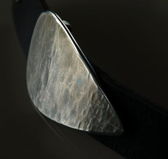 """Silver & Blues GUITAR Pick Belt Buckle ~ Musician's Accessories ~ Anvil Textured Buckle ~ Hypoallergenic ~ Stainless Steel fits 1-1/2"""" Belt"""