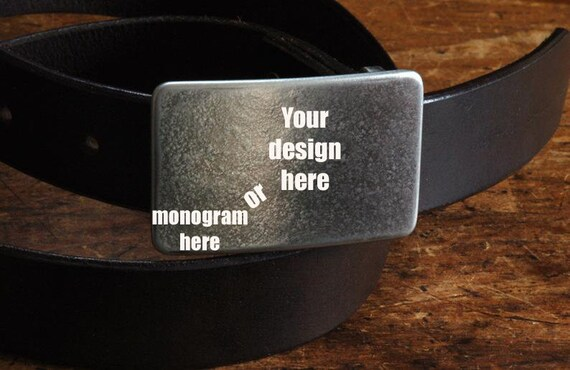 "Monogrammed Buckle & Belt, Silver Suit Buckle, HYPOALLERGENIC Buckle, Handcrafted Stainless Steel, Unisex Gifts, Buckle With 1-1/4"" Belt"