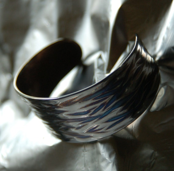 Unisex Cuff,  Hypoallergenic Cuff, Silver & Blue Wave Stainless Steel Bracelet Wrist Cuff, ANVIL Textured Hand Forged Cuff, Signed by Artist