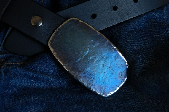 "BLUE Jean Belt Buckle Hand Forged Stainless Steel Hypo Allergenic Unisex Belt Buckle Rodeo Buckle Cowboy Signed Original  Fits 1.5"" Belt"